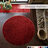 Shaggy-Teppich | Flauschiger Hochflor für Wohnzimmer, Schlafzimmer, Kinderzimmer oder Flur Läufer | einfarbig, schadstoffgeprüft, allergikergeeignet | Rot - 160 cm rund