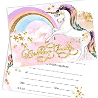 Olivia Samuel Unicorn Birthday Party Invitations - Girls Birthday Invites Ready to Write with Envelopes (Pack 10)