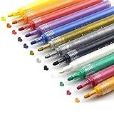 YIYIHUI Acrylstifte Art Filzstift Acrylic Painter, 12 lebhafte Farben auf Wasserbasis Permanent Stifte für Holz Fotoalbum Keramik Stoff Glas Stein Metall