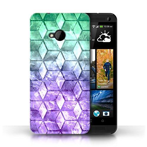 Etui / Coque pour HTC One/1 M7 / Bleu/verd conception / Collection de Cubes colorés Vert/Violet