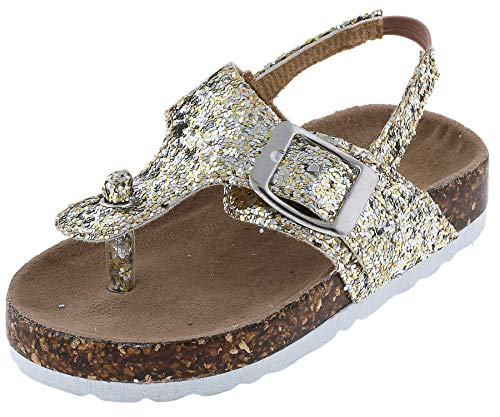 Capelli New York Toddler Girls Fashion Flip Flops with Flower
