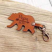 Papa Bear leather Keyring - Dad Gift