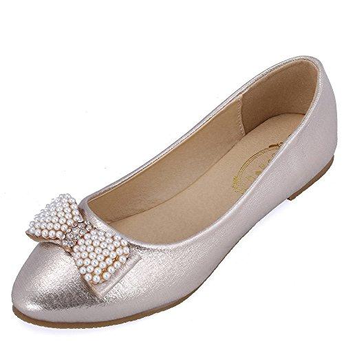 Leder Aalardom Ziehen Auf Hellgolden Schuhe Pu Ohne juwelen Material Damen Absatz Weiches Flache Rein rIqrCw1