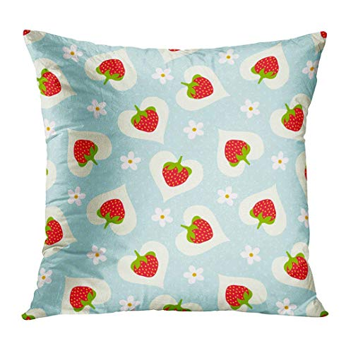 Blue Flower Floral Strawberry Colorful Fruit Pattern Girl Heart Small Pillow Cover Hidden Zipper Cotton Indoor Throw Pillow Case Cushion 16x16 in 16