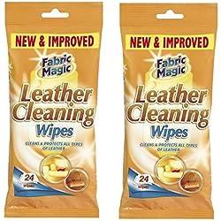 Paquetes de toallitas para limpiar cuero, 2 unidades, 24 toallitas