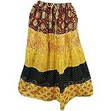 Mogul Interior Womens Bohemian Skirt Yellow Printed Tiered Gypsy Long Skirts