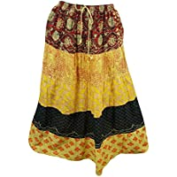 Mogul Interior Womens Bohemian Skirt Yellow Printed Tiered Gypsy Long Skirts