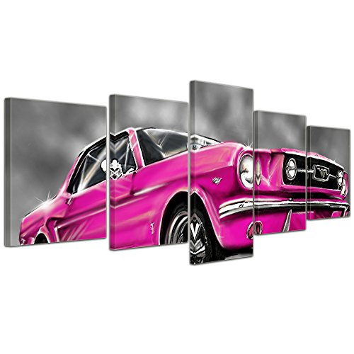 Wandbild - Mustang Graphic - pink - Bild auf Leinwand - 200x80 cm 5 teilig - Leinwandbilder - Motorisiert - Oldtimer - Klassiker - Amerika (Mustang Ford Pink)