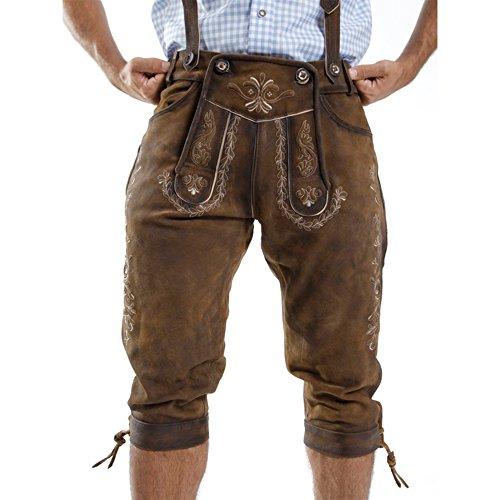 ALMBOCK Lederhose Herren Tracht Kniebund | Lederhose Herren braun aus feinem und antikem Nubukleder | Trachtenhose alt Herren - Trachtenlederhose 52 - 2