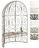 CLP Eisen-Gartenbank Rosie mit Überdachung | Bank mit 2 Sitzplätzen | Dekorativer bepflanzbarer Gartenpavillon mit Bank | Eisen-Laubenbank erhältlich Antik Braun