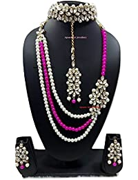 Apsara Art Jewellery Pink & Off White Pearl & Kundan Necklace Set With Earings, Choker And Maang Tikka For Women...