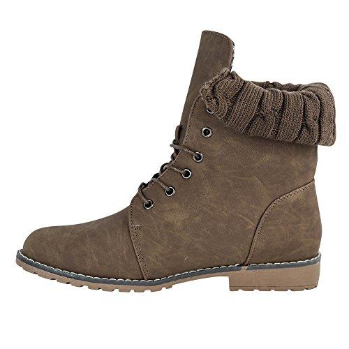 Damen Stiefeletten Schnürboots Boots Stiefel Worker ST099 Braun