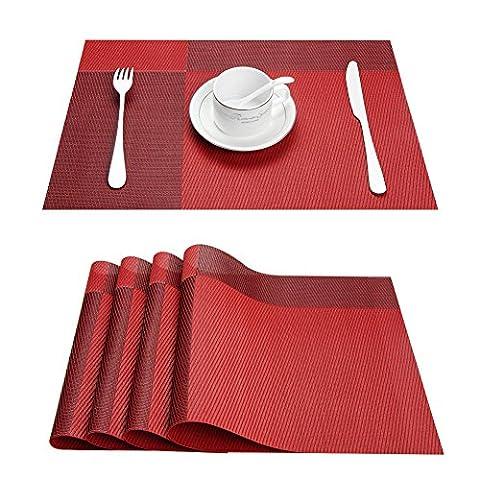 Top Finel Lot de 8 Sets de table PVC Coloré Napperons de Table Rectangulaires pour Table à Manger 45cmx30cm,Rouge