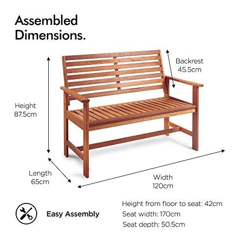 VonHaus Hardwood Garden Bench - Classic 2 Seater Wooden Patio Outdoor Furniture - Seating with Teak Oil Treated Meranti Hardwood (120cm)