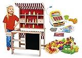 Unbekannt Kaufladen aus Holz Inklusive Kaufladenzubehör und Registrierkasse, Supermarkt aus Holz, Verkaufsstand mit Verkaufsregal, Frontablage und Tafel und Zubehör, Marktstand