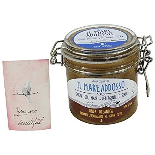 Savon de la Mer Natural - Savon Exfoliant Douce pour Mains, Visage, Corps - Detox et anti cellulite Avec café vert- Fabriqué en Italie