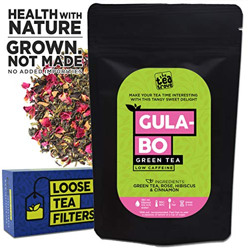 The Tea Trove Gulabo Green Tea with Rose, Hibiscus and Cinnamon and with Loose Tea Filter for Weight Loss and Blood Pressure Control (100 GMS, 50 Cups)