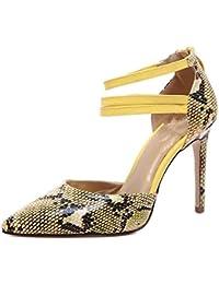 82293a94681 XIE Zapatos para Mujer de la Corte Piel de la Serpiente Pies del Dedo del  pie