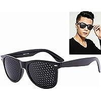 Kobwa Gafas Estenopeicas,Gafas de Corrección de la Visión Gafas Reticulares Gafas Anti-fatiga Gafas de Sol Anti-miopia, Negro
