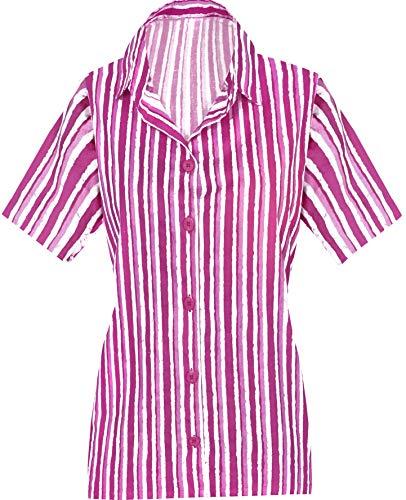 LA LEELA Frauen-Taste gedrückt kurzer Ärmel Hawaii Hemd Rosa_AA133 S - DE Größe :- 42-44 (Teal Farbe Blumen-mädchen-kleider)