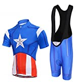 """New Kid's """"Captain America"""" Cycling Short Sleeve Jersey + BIB Shorts With 3D Padded"""