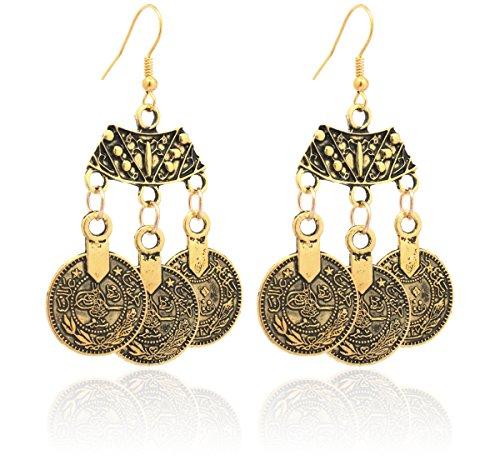 2LIVEfor Traumhafte Ohrringe Ethno Münzen verziert Ohrringe Bohemian Vintage Ohrringe lang Hängend Antik Style goldene Ohrhänger Orientalisch türkisch (Verziert Münze)