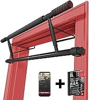 Optrekstang zonder boren - Deurkozijnen Rekstang + Workoutgids   Professionele Pull-Up Stang Bar met Softgrip, Bevestiging B