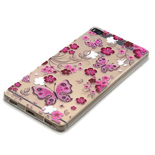 ISAKEN Schutzhülle iPhone 6S Plus Hülle,Tasche iPhone 6S Plus - iPhone 6S Plus Case [Scratch-Resistant], iPhone 6S Plus Ultra Slim Perfect Fit Bunte Malerei Muster TPU Protective back Hülle Hüllen Bes Rosa Schmetterlings Blumen