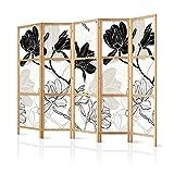 murando - Paravent XXL Blumen 225x171 cm - 5-teilig - einseitig - eleganter Sichtschutz - Raumteiler - Trennwand - Raumtrenner - Holz - Design Motiv - Deko - Japan p-B-0011-z-c