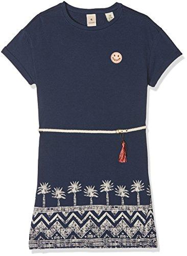 le Mädchen Kleid Loose Fit Tee Dress with Placed Print, Blau (Indigo 089), 104 (Herstellergröße: 4) (Tee-mädchen-kleider)