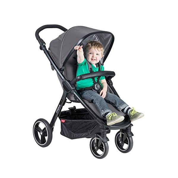 Phil&teds Smart Buggy Pushchair, Graphite phil&teds Foot fold - intuitive, compact, one-piece standing foot fold - a world's first of its kind - is only 23 Inch wide, making it perfect for tight city spaces ; A unique aerocore seat design that's soft and spongy for maximum comfort and is hypo-allergenic, ventilating, insulating, UV resistant, waterproof, non-toxic and simply wipes clean Smooth ride tires - super-smooth, hassle-free riding with 10 Inch rear puncture-proof, aerotech wheels and suspension on all four wheels; convenient hand-operated parking brake offers easy braking control at your fingertips Lightweight - stroller weighs 23.5 lbs. and includes a main, full-size seat that holds up to 44 lbs., an extendable leg and a sun hood with zip-out extension and silent peek-a-boo flap 5