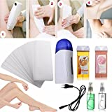 LuckyFine Complete Roll On Waxing Kit Cartridge Heater Roller Wax Strips Hair Removal Hot