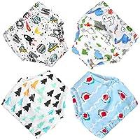 Flyish Pantalones de Entrenamiento para bebés, Ropa Interior, Pantalones de Entrenamiento para niños pequeños de algodón, 4 Paquetes, 18-36 Meses