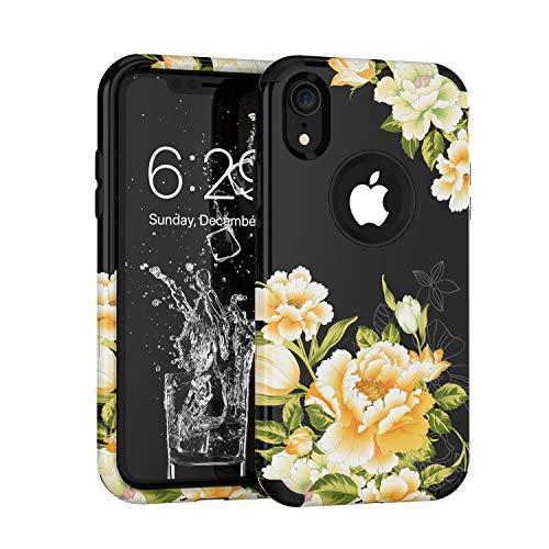 hone XR 2018, Blumenmuster, dreilagig, robust, robust, stoßfest, für Apple iPhone XR 15,2 cm (6 Zoll), schwarz ()