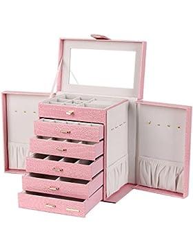 Schmuckkästen mit 5 Schubladen und Spiegel Schmuckkoffer Schmuckzubehör Aufbewahrung Schmuckschatulle (Pink) 28...