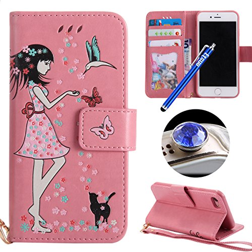 Etsue Leuchtende Nacht Leder Schutzhülle für iPhone 6s/iPhone 6 Butterfly Blume Lederhülle Flip Tasche Case Leder Flip Hülle, iPhone 6s/iPhone 6 Night Luminous Schmetterling Katze Luxus Vintage Handyh Katze,Rosa