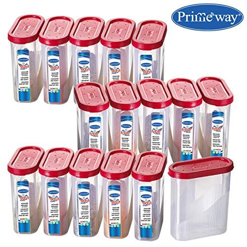 Primeway PrimewayÃ' Food Savers Masala Jars Plastic Containers, 275ml, Pack of 16, Red