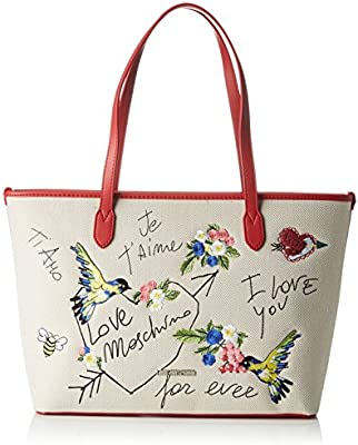 Love Moschino - Moschino, Shoppers y bolsos de hombro Mujer, Beige (Natural Canvas), 12x28x46 cm (B x H T)