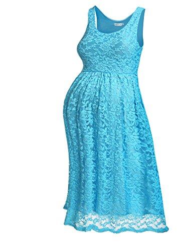 HOTOUCH Damen Umstandskleid Maternity Kleid Jerseykleid SchwangerschaftsKleid Spitzenkleid Tank Kleid Empire Kleid aus Lace Ärmellose Rundhals
