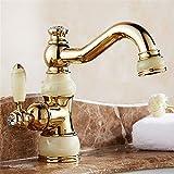 XPYFaucet Wasserhahn Armatur Mischbatterie Becken aus antikem Gold im europäischen Stil unter dem Waschtisch-Waschtisch-Mischbatterie
