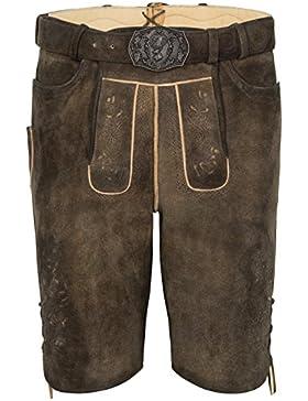 Michaelax-Fashion-Trade Spieth & Wensky - Herren Trachten Lederhose mit Gürtel, Rehbraun, Diplomat (260145-1061)