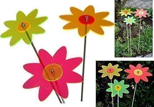 Schmalz Werbeservice 3er Set Sonnenfänger/Suncatcher Sonnenscheibe Blumen 100 cm Edelstahl.-Stab LISA (17 cm)
