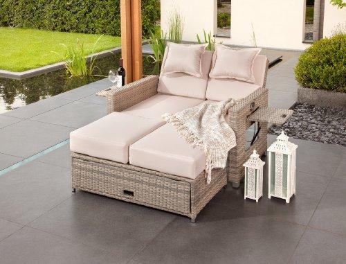 greemotion Bahia Sofa Twin 429106, Love Seat aus Stahl und Polyethylengeflecht, die Rückenlehne ist stufenlos verstellbar, inkl. 8 Nacken- und Sitzkissen, mit Stauraum für die Kissen im Fußteil, die Liege hat 2 Ablagetablets für Getränke, die Maße betragen ca. 121 x 86 x 99 cm - 2