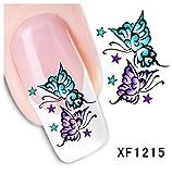 Nagel Sticker Nail Art Nass Abziehbilder mit Blumen - Blume - XF1215 Nail Sticker Tattoo - FashionLife