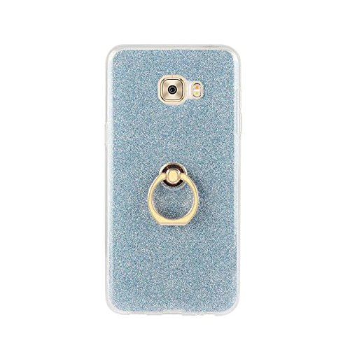Luxus Bling Sparkle Style Case, Soft TPU [Silikon] Flexible Glitter Back Cover mit Fingerring Stand [Anti Scratch] [Shockproof] für Samsung Galaxy C5 Pro ( Color : White ) Blue