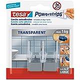 tesa Powerstrips - Pack de gancho grande combinado transparente y acero + tiras