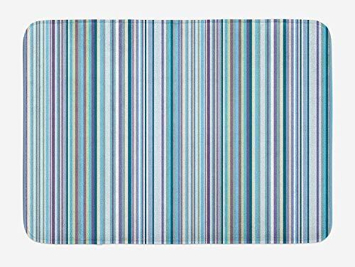 PdGAmats Striped Bath Mat, Blue Purple Teal Aqua Lavender Colored Vertical Stripes Geometric Abstract Vintage 23.6 W X 15.7 W Inches