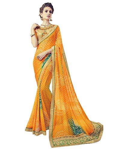 Pisara Women's Georgette Bandhani Saree with Blouse, Yellow