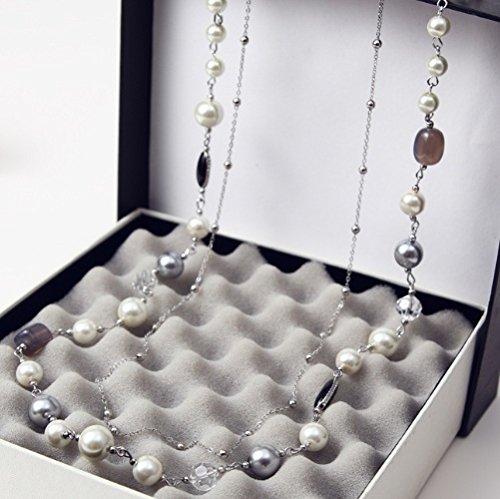 WeterCos (TM) Simulierte Perlen Schmuck Kristall-Perlen Multi-Elemente langkettige Halskette Frauen Bijoux Colares f¨¹r Hochzeit X077 (silberne Farbe) (Womens Multi Kristall Perlen)