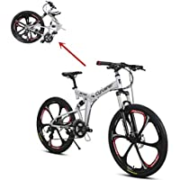 Extrbici Vélo Tout Terrain VTT Vélo de Montagne avec Suspension de la Fourche et Frein Mécanique, Cadre en Alliage d'Aluminium Rouge Blanc (UK Stock)